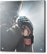 African American Mma Boxer With Gloves Acrylic Print