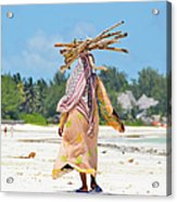 African Girl With A Bundle Of Reeds On Acrylic Print
