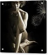 Chynna African American Nude Girl In Sexy Sensual Photograph And In Black And White Sepia 4791.01 Acrylic Print