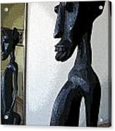 African Statue Reflection Acrylic Print