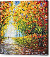 After Rain Autumn Reflections Acrylic Palette Knife Painting Acrylic Print