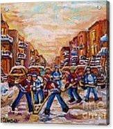 After School Winter Fun Street Hockey Paintings Of Montreal City Scenes Carole Spandau Acrylic Print