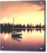 Afterglow  Sunset On Lake Sailboat Panoramic Picture Acrylic Print