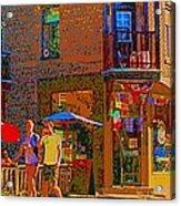 Afternoon Stroll French Bistro Sidewalk Cafe Colors Of Montreal Flags And Umbrellas City Scene Art Acrylic Print