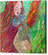 Aiden The Girl On Fire Acrylic Print by The Art With A Heart By Charlotte Phillips