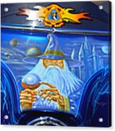 Airbrush Magic - Wizard Merlin On A Motorcycle Acrylic Print by Christine Till