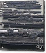 Aircraft Carriers In Port At Naval Acrylic Print by Stocktrek Images