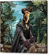 Airedale Terrier Art Canvas Print - Forest Landscape With Deer Hunting And Noble Lady Acrylic Print