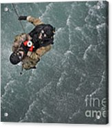 Airmen Are Hoisted Out Of The Water Acrylic Print