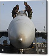 Airmen Clean The Canopy Of An Fa-18f Acrylic Print by Stocktrek Images