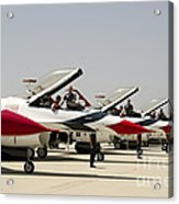 Airmen Conduct Preflight Preparations Acrylic Print by Stocktrek Images