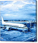 Airplane At Aerobridge Acrylic Print by William Voon