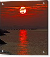 Airplane Flying At Sunrise Acrylic Print