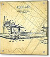 Airplane Patent Drawing From 1921-vintage Acrylic Print