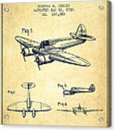 Airplane Patent Drawing From 1938-vintage Acrylic Print