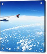 Airplane Wing Against Blue Sky Horizon Acrylic Print