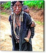 Akha Tribe Paint Filter Acrylic Print