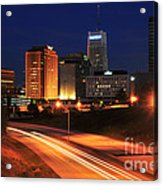 D1u-140 Akron Ohio Night Skyline Photo Acrylic Print