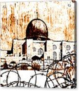 Al-asqa Mosque Palsetine- Mustard Acrylic Print by Salwa  Najm