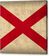 Alabama State Flag Art On Worn Canvas Acrylic Print by Design Turnpike