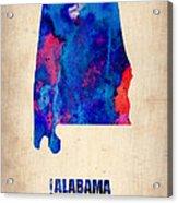 Alabama Watercolor Map Acrylic Print by Naxart Studio