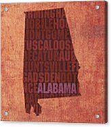 Alabama Word Art State Map On Canvas Acrylic Print