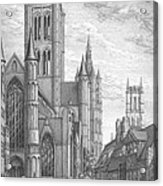 Alarming Morning In Ghent. The Left Part Of The Triptych - The Age Of Cathedrals Acrylic Print