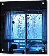 Alaska Christmas Window Decorations And Lights Viewing Sunlit Illuminated Snowy Forest Trees Acrylic Print by Elizabeth Stedman