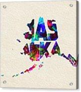 Alaska Typographic Watercolor Map Acrylic Print