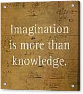 Albert Einstein Quote Imagination Science Math Inspirational Words On Worn Canvas With Formula Acrylic Print