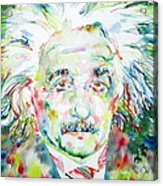 Albert Einstein Watercolor Portrait.1 Acrylic Print