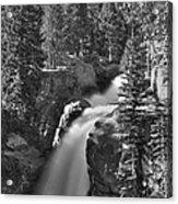 Alberta Falls In B-w Acrylic Print