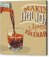 Alcoholic Drink Is Poured From Bottle Acrylic Print