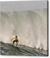 Alex Martins With A Huge Wave On His Heals At The January 2013 Mavericks Invitational Surf Contest Acrylic Print