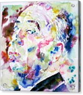 Alfred Hitchcock Watercolor Portrait.1 Acrylic Print