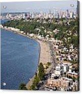 Alki Beach And Downtown Seattle Acrylic Print