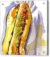 All Beef Ballpark Hot Dog With The Works To Go In Broad Daylight Acrylic Print by Kip DeVore