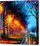 Alley By The Lake 2 - Palette Knife Oil Painting On Canvas By Leonid Afremov Acrylic Print