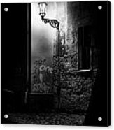Alley Of Prague In Black And White Acrylic Print