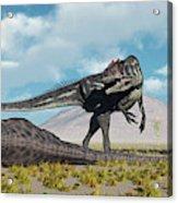 Allosaurus Dinosaurs Approaching Acrylic Print