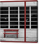 Alone - Red Bench - Windows Acrylic Print