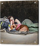Alone With Her Dog Acrylic Print