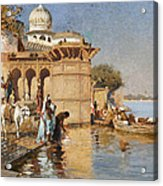 Along The Ghats Mathura Acrylic Print