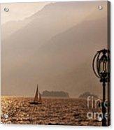 Alpine Lake With A Sailing Boat Acrylic Print