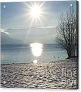 Alpine Lake With Snow Acrylic Print