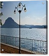 Alpine Lake With Street Lamp Acrylic Print