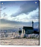 Alpine Scenery With Church In The Frosty Morning Acrylic Print
