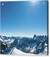 Alps Snow Summit Sunburst Mountaineers Acrylic Print