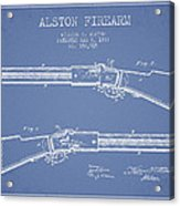 Alston Firearm Patent Drawing From 1887- Light Blue Acrylic Print