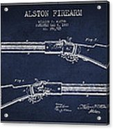 Alston Firearm Patent Drawing From 1887- Navy Blue Acrylic Print